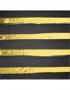16 Serviettes en papier noires et dorées rayées 33 x 33 cm