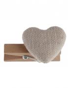 6 Cœurs en coton sur pince en bois naturel 3,5 cm