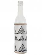Bouteille en verre Ethnique blanche et noire 25 cm