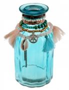 Vase en verre Mexique bleu 14 cm