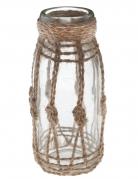 Vase en verre avec corde Bord de mer 5 x 14 cm