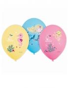 6 Ballons en latex Sirène 28 cm