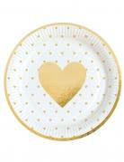 8 Assiettes en carton Cœur d'or 23 cm