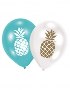 6 Ballons en latex Ananas doré, bleu et blanc 28 cm