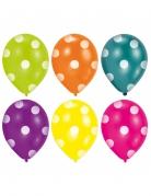 6 Ballons en latex multicolores à pois 25 cm