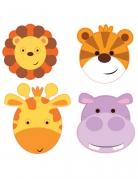 8 Masques en carton les Animaux de la jungle