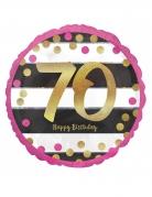 Ballon aluminium 70 ans Happy Birthday fuchsia et or 43 cm
