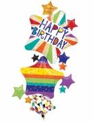 Ballons aluminium étoiles Happy Birthday multicolore 93 x 170 cm