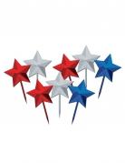 8 Piques décoratifs en forme d'étoiles américaines 7,62 cm