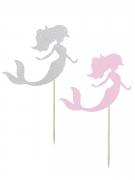 2 Pics décoratifs Sirène roses et gris pailletés 15 cm