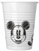 25 Gobelets en plastique Mickey™ rétro noir et blanc 200 ml