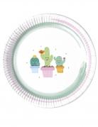 8 Assiettes en carton Petits Cactus 23 cm