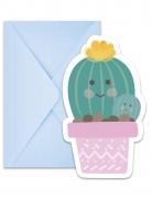 6 Cartons d'invitations avec enveloppes petits cactus