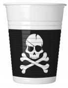 8 Gobelets en plastique Pirate crâne noir 200 ml