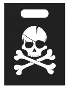 6 Sacs cadeaux Pirate crâne noir 16,5 x 23 cm