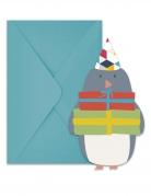 6 Cartons d'invitation avec enveloppes Arctique