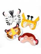8 Masques en carton Animaux de la jungle