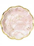 8 Assiettes en carton effet marbre rose et or 17 cm