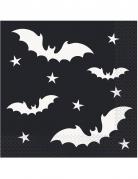 20 Serviettes en papier Chauve-souris noires 33 x 33 cm