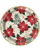 8 Assiettes en carton étoile de Noël rouge doré 23 cm