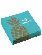 20 Serviettes en papier Ananas doré 33 x 33 cm