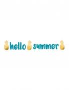 Guirlande en papier Hello Summer bleu et doré 1,25 m