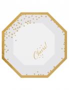 6 Assiettes en carton hexagonales Cheers doré et blanc 20 cm