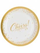 8 Assiettes en carton Cheers blanc et doré 23 cm