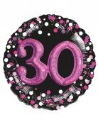 Ballon aluminium 30 ans noir et fuchsia 91 cm