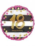 Ballon aluminium 18 ans Happy Birthday fuchsia et or 43 cm