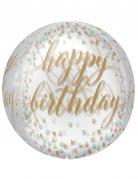 Ballon transparent Happy Birthday confettis pastels et or 40 cm