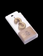 Bougie d'anniversaire chiffre 3 doré métallisé 4,3 cm