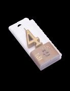 Bougie d'anniversaire chiffre 4 doré métallisé 4,3 cm