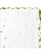 16 Serviettes en papier à pois et feston doré 33 x 33 cm