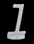 Centre de table chiffre 1 bois pailleté argenté 20 cm