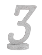 Centre de table chiffre 3 bois pailleté argenté 20 cm