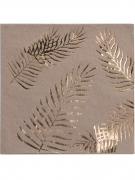 16 Serviettes en papier kraft Palmier doré 33 x 33 cm