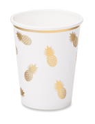 8 Gobelets en carton ananas blanc et or