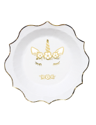 8 Assiettes en carton jolie licorne dorée 23 cm