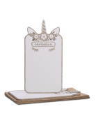 8 Invitations jolie Licorne doré pailleté avec enveloppes 22 x 10 cm
