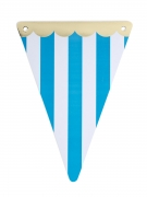 Guirlande 5 fanions Circus turquoise feston doré 15 x 21 cm