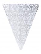 5 Fanions en carton carreaux de ciment argenté 15 x 21 cm