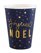 10 Gobelets en carton Joyeux Noël bleu marine et or 7,8 x 9,7 cm