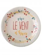 10 Assiettes en carton Vive le Vent d'hiver blanches 23 cm