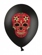 6 Ballons en latex Dia de los Muertos noir et rouge 30 cm