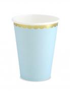 6 Gobelets en carton bleu ciel et dorure 220 ml