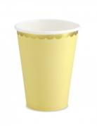 6 Gobelets en carton jaune et dorure 220 ml