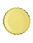 6 Petites assiettes en carton jaune et dorure 18 cm
