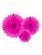 3 Suspensions rosace en papier fuchsia 20 - 30 cm