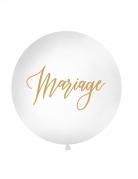 Ballon géant en latex Mariage blanc et doré 1 m